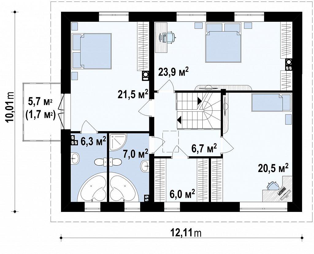 Просторный двухэтажный дом минималистичного современного дизайна. план помещений 2