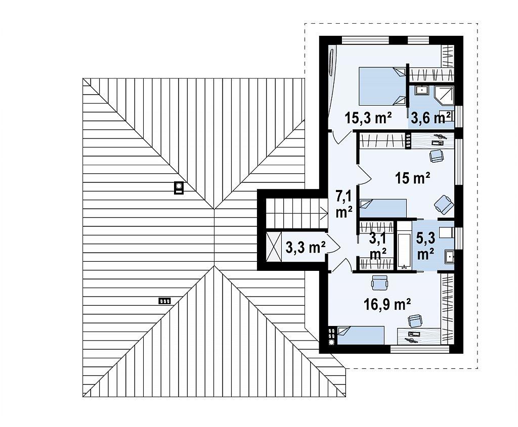 Красивый и комфортный однэтажный дом с цоколем план помещений 2
