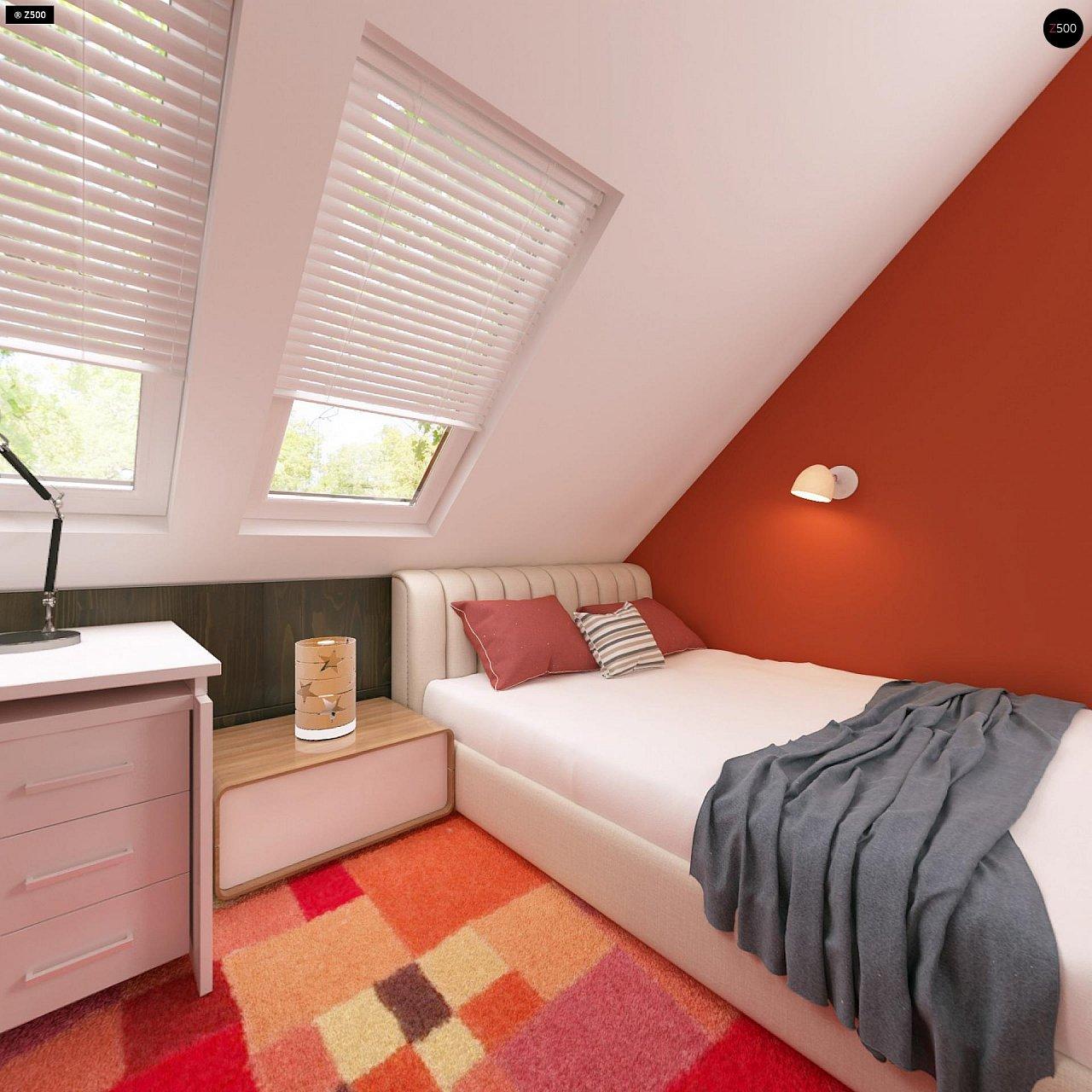 Дом с мансардой с двускатной крышей и комнатой на первом этаже 16