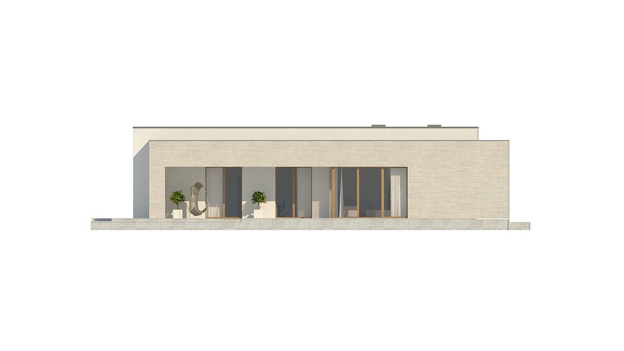 Одноэтажный дом в современном стиле, с большими застекленными окнами 19