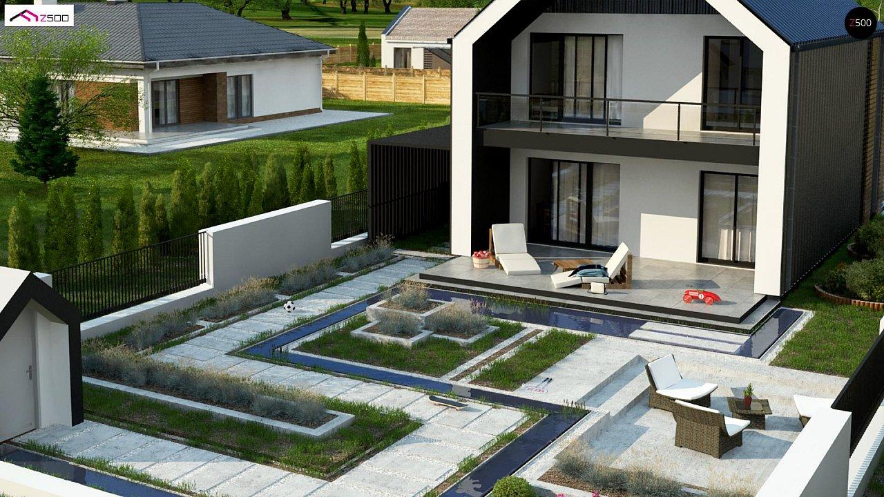 Двухэтажный дом в современном стиле для узкого участка. - фото 5