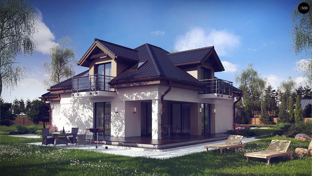 Проект дома с мансардой, с кабинетом на первом этаже и гаражом. 2