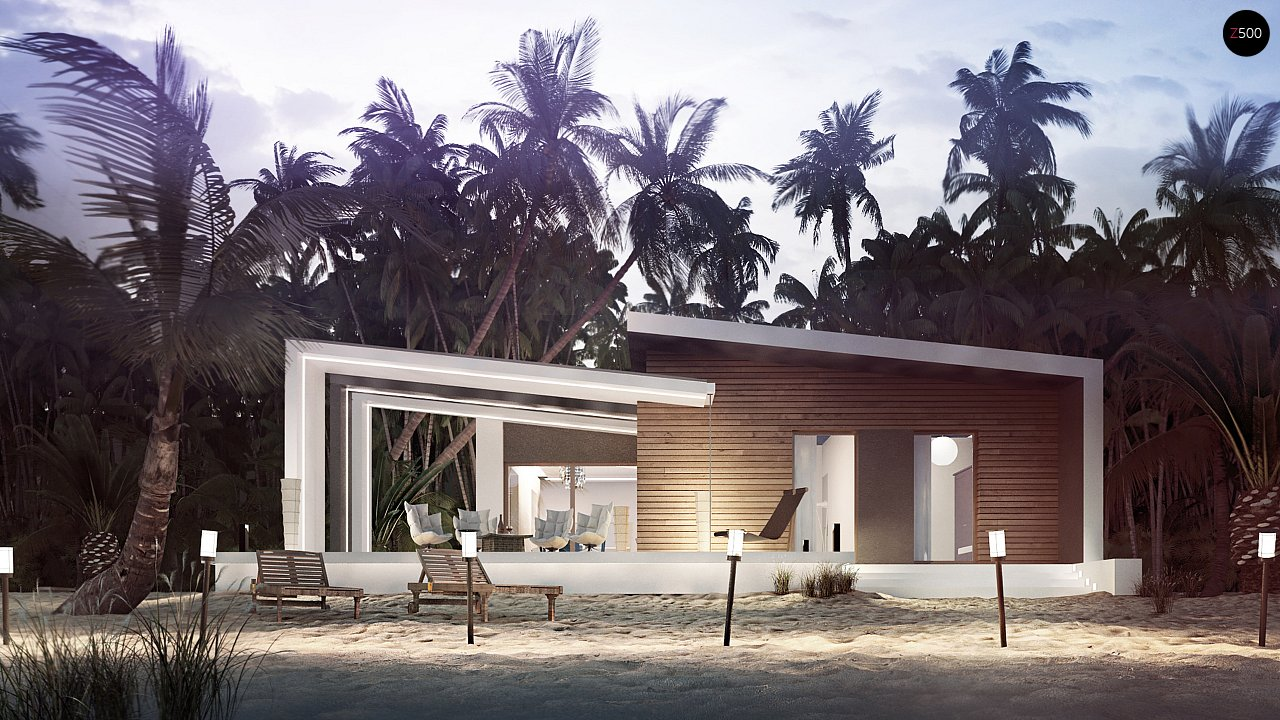 Проект современного дома в стиле хай-тек с двумя спальнями. - фото 1