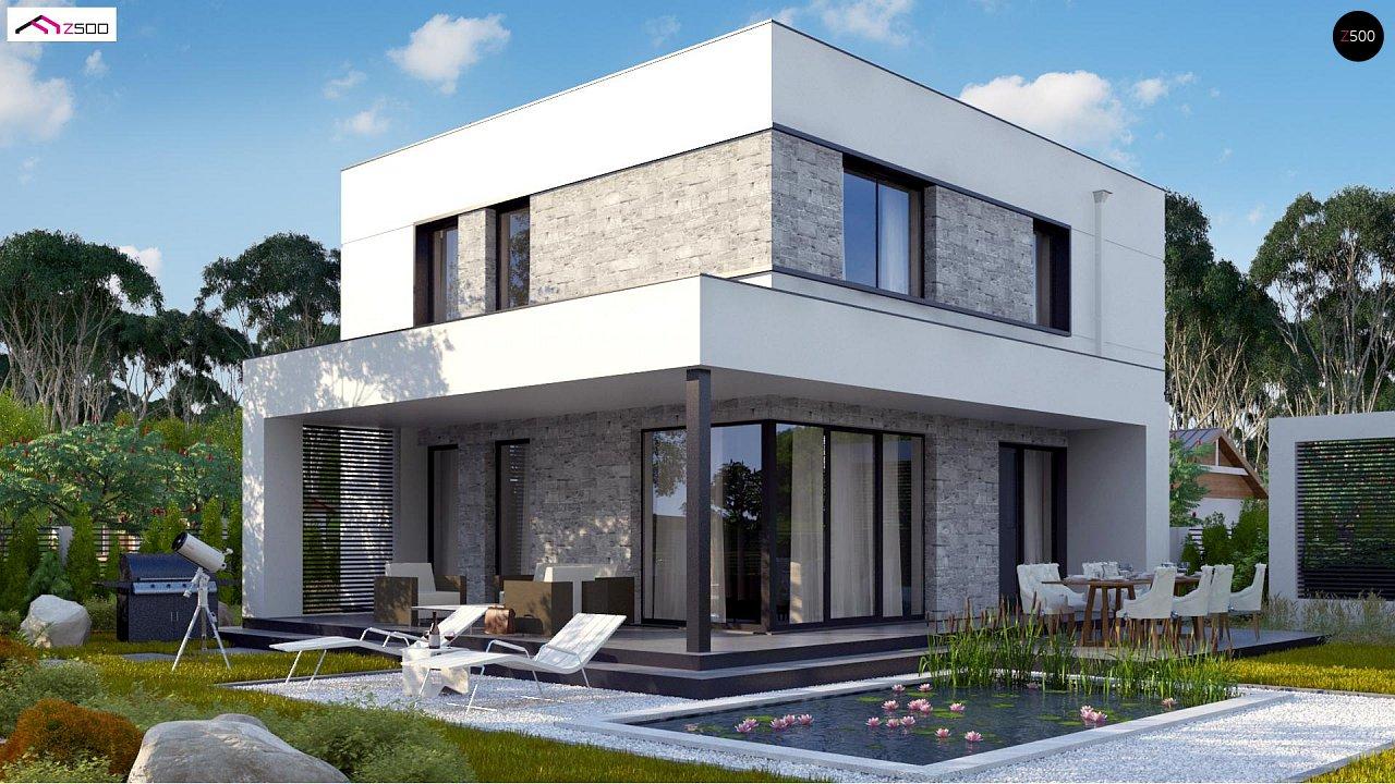 Простой аккуратный проект двухэтажного дома с плоской кровлей 6