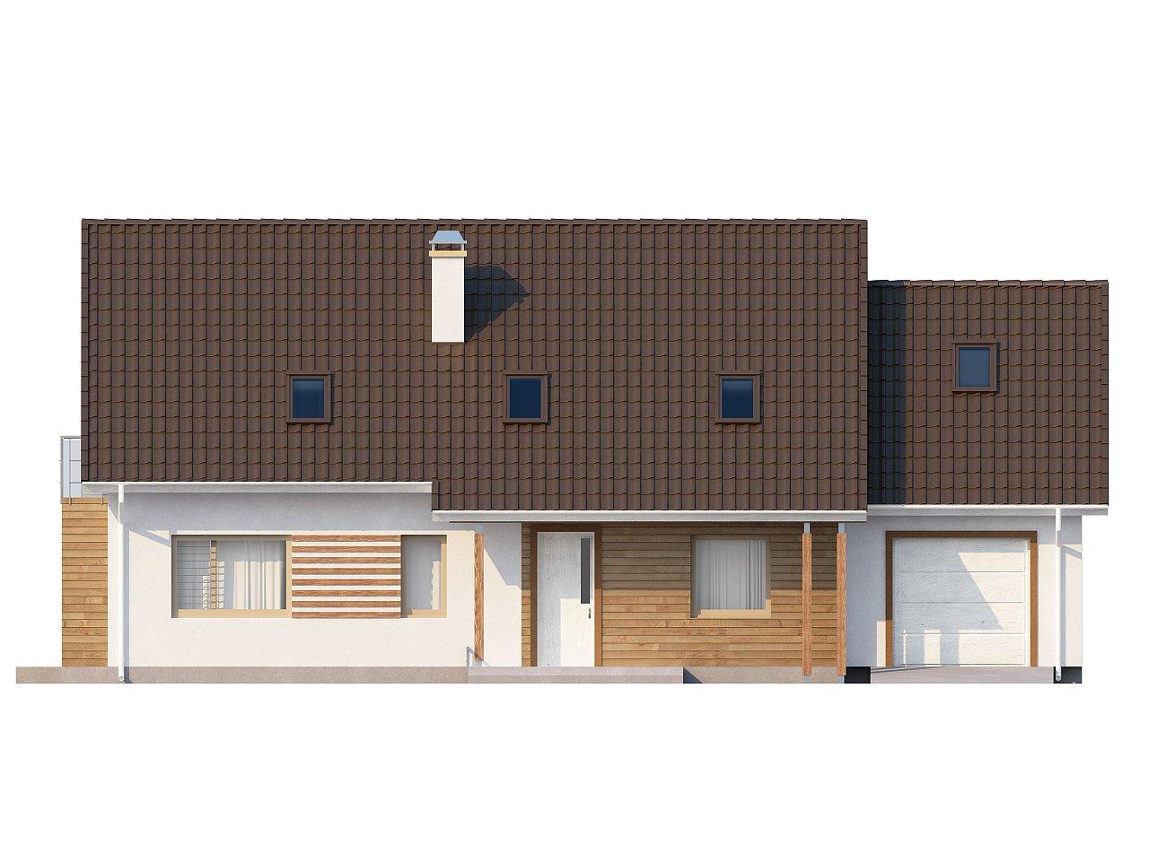 Проект просторного функционального дома с мансардой, гаражом для одной машины и дополнительной спальней на первом этаже. 3