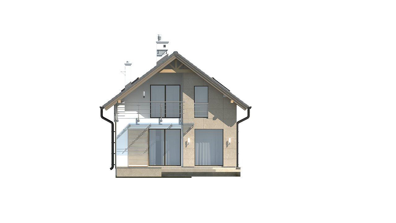 Дом простой формы с двускатной кровлей, с террасой над гаражом, также для узкого участка. - фото 5
