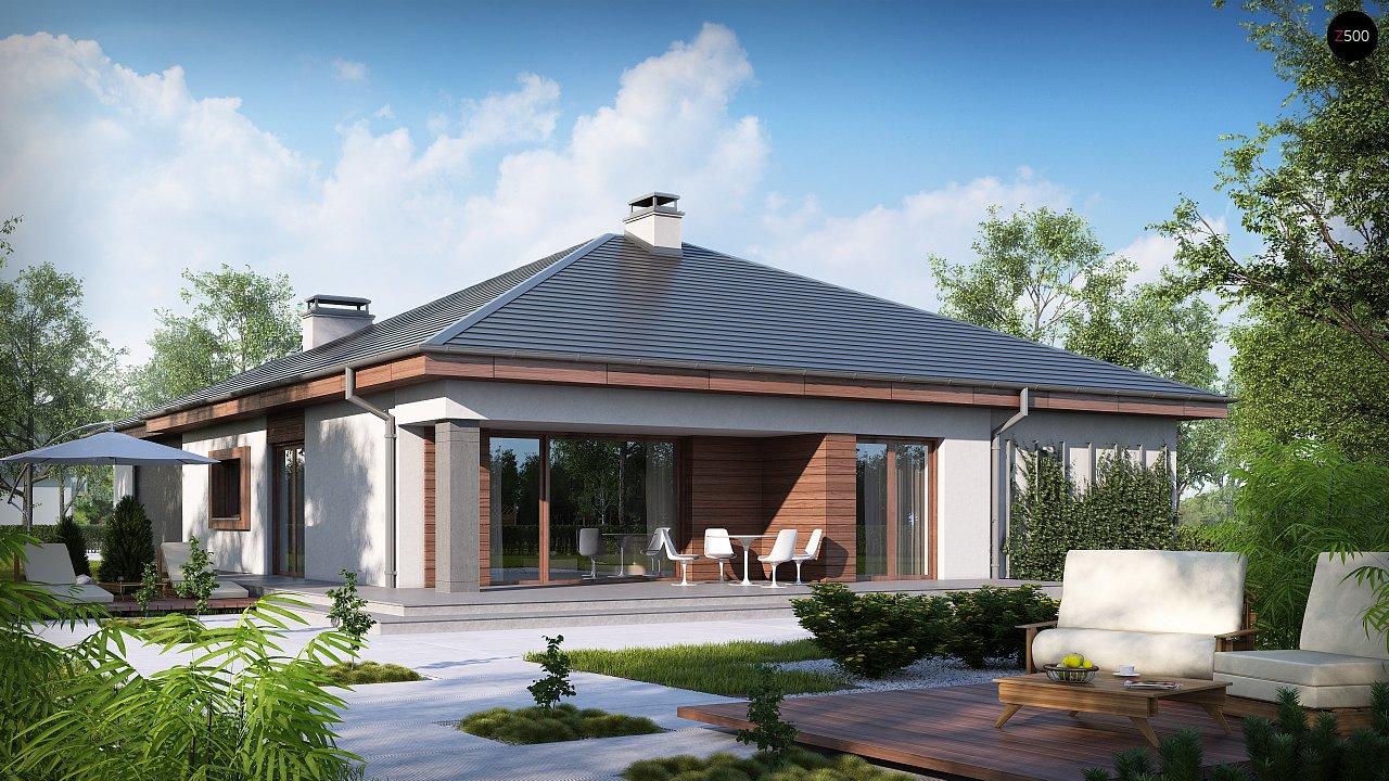 Проект одноэтажного дома с многоскатной кровлей, с фронтальным гаражом. - фото 1