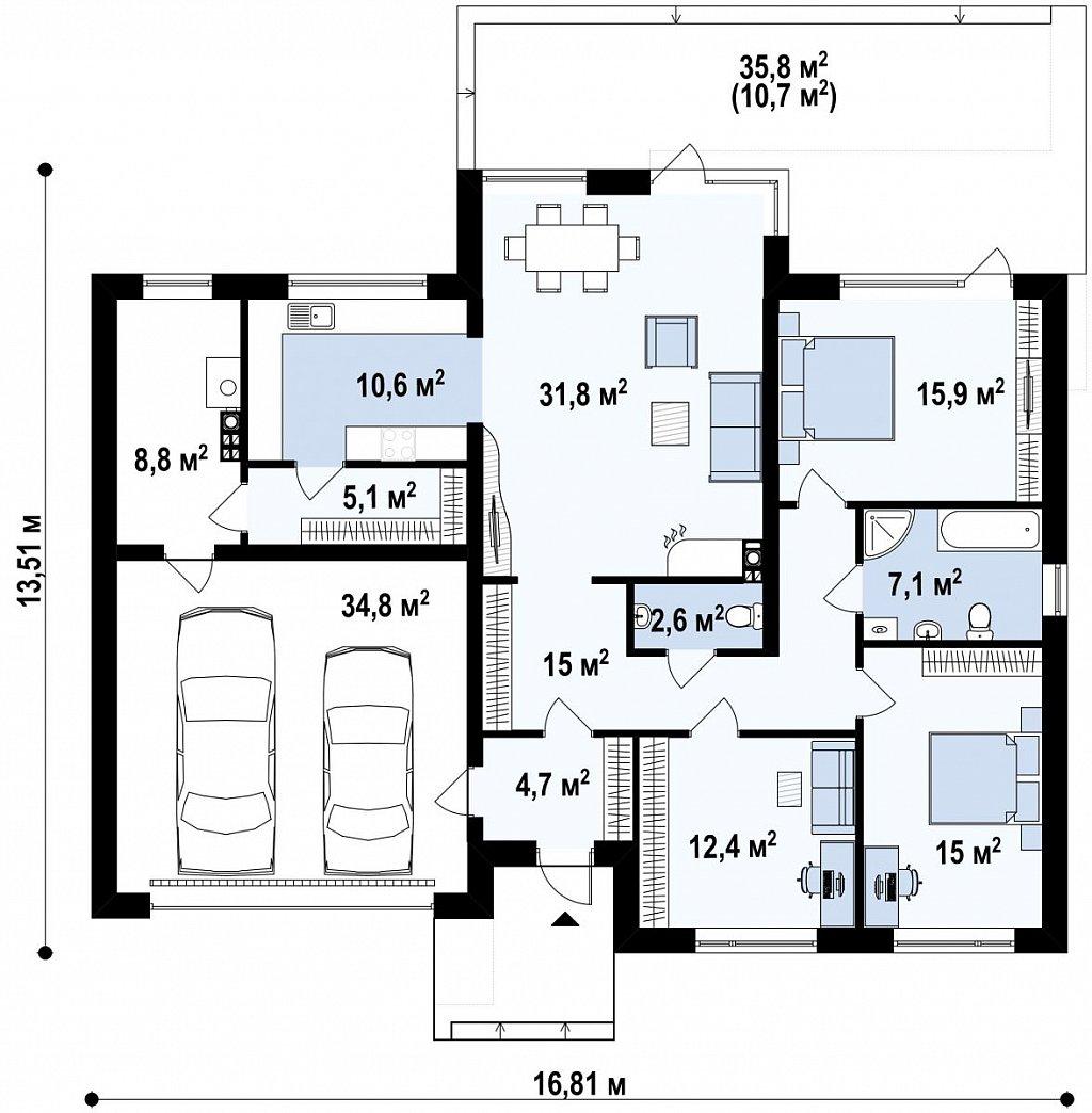 Комфортный современный дом со светлым и уютным интерьером. план помещений 1