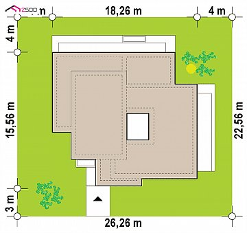 Современный одноэтажный дом с 3 спальнями и внутренним двориком план помещений 1