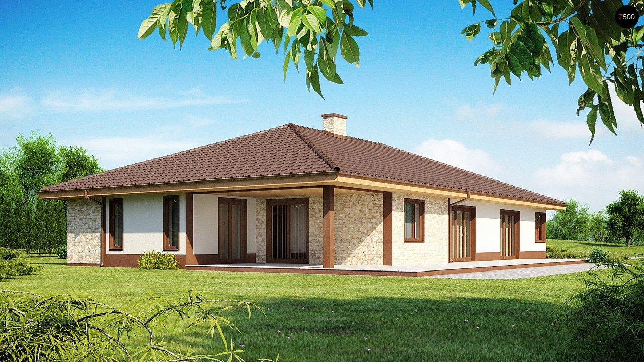 Комфортабельный одноэтажный дом для продольного участка с большим гаражом, с возможностью обустройства мансарды. 2