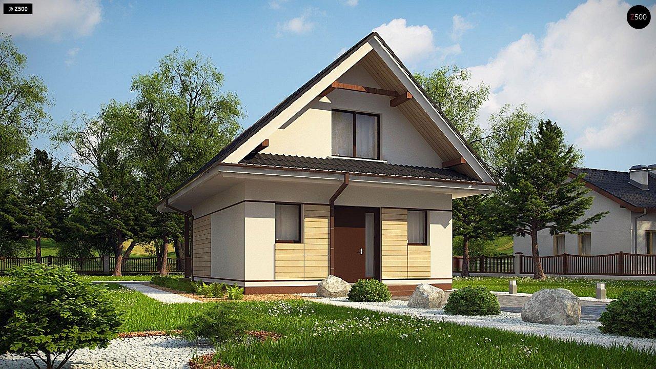 Небольшой мансардный дом с верандой, подойдет для строительства на узком участке. - фото 1