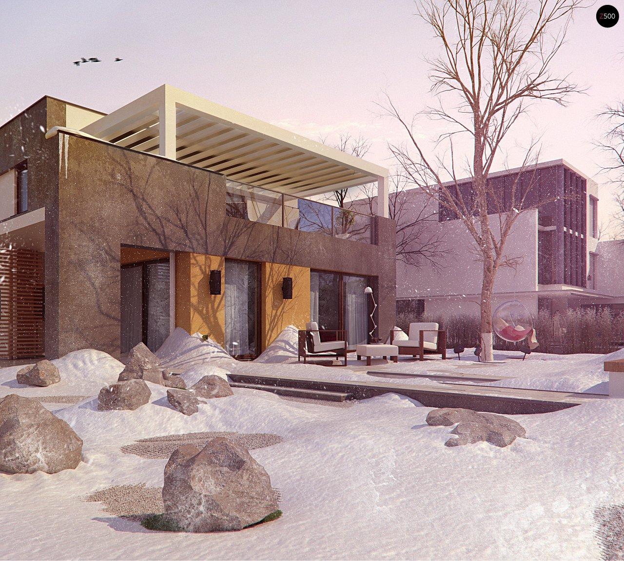 Дом характерного современного дизайна с гаражом и кабинетом на первом этаже. - фото 6