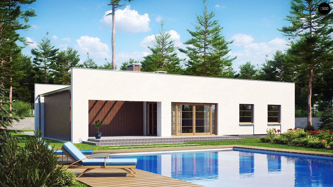Одноэтажный дом с плоской крышей, со светлым функциональным интерьером и гаражом. 2