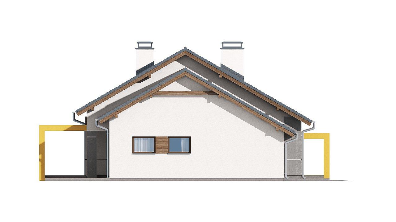 Проект одноэтажного дома с двускатной кровлей, с тремя спальнями и гаражом. - фото 15