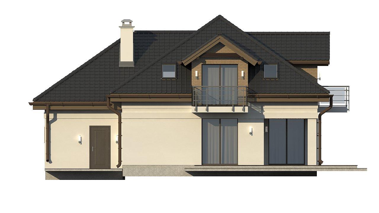 Проект дома с мансардой, с кабинетом на первом этаже и гаражом. 21