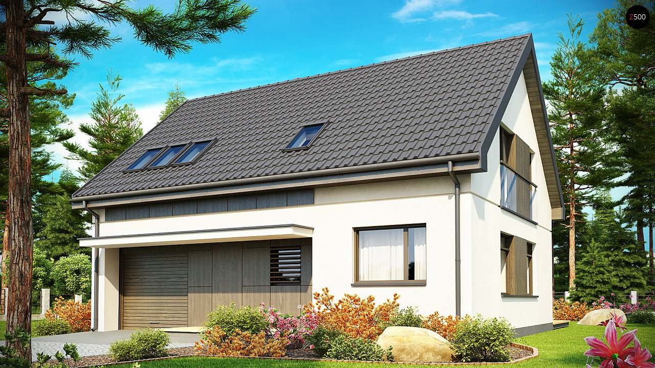 Функциональный традиционный дом с современными элементами в архитектуре, со встроенным гаражом. 2