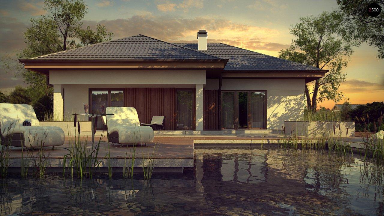 Одноэтажный дом с многоскатной крышей, с удобным функциональным интерьером. 2