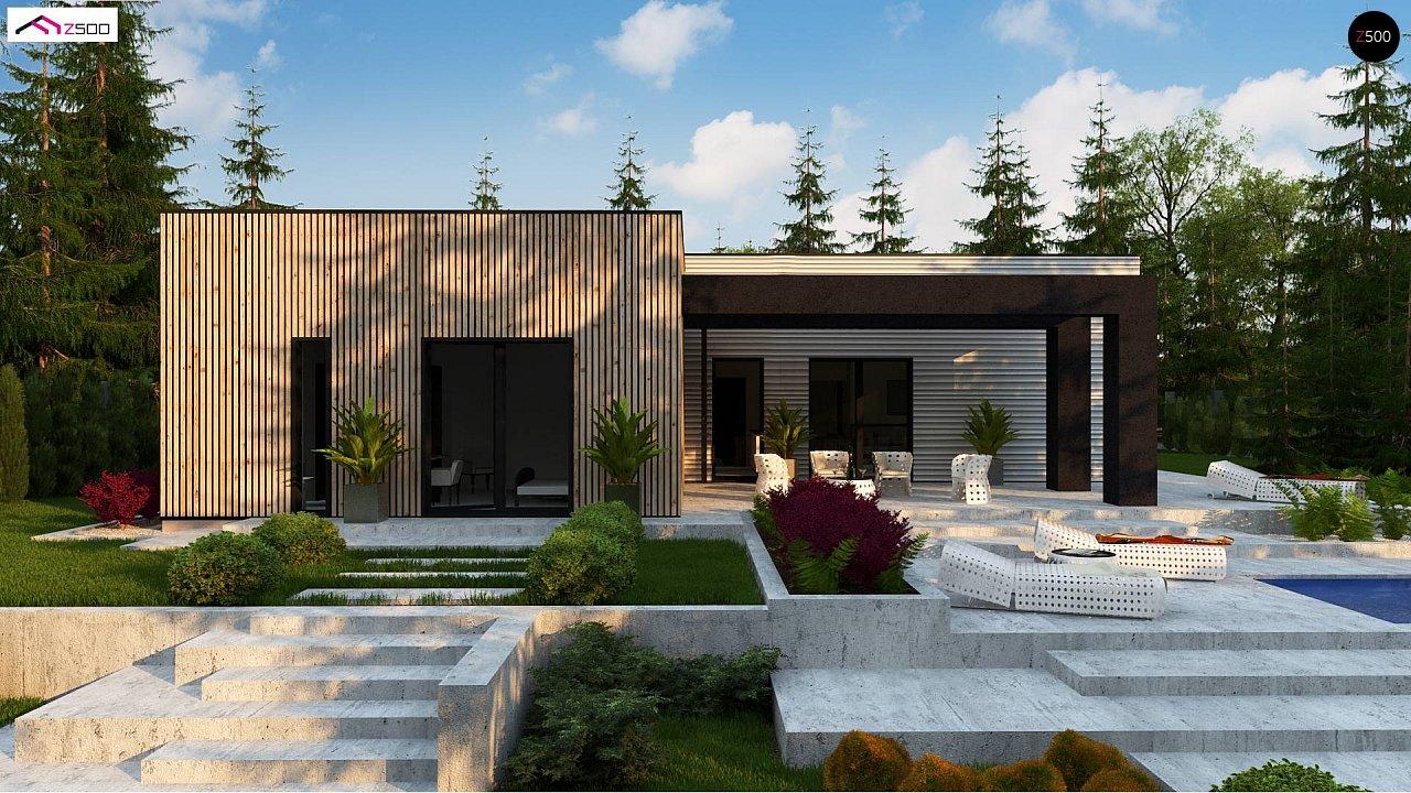 Проект просторного одноуровневого дома с плоской кровлей. - фото 4