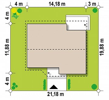Версия увеличеного одноэтажного дома Z41 план помещений 1