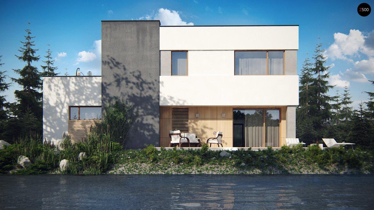Двухэтажный дом в модернистского дизайна с гаражом и террасой на верхнем этаже. 4