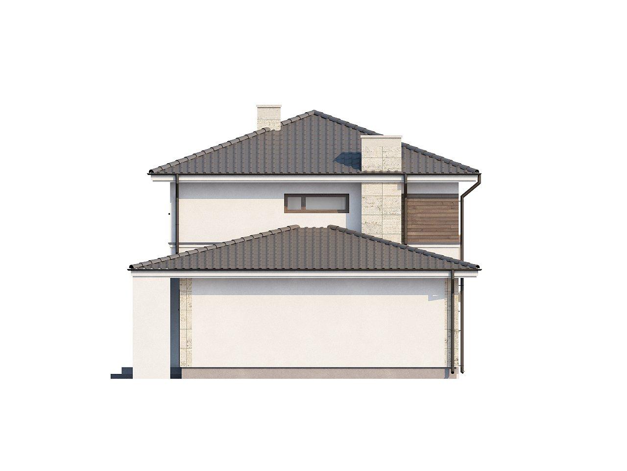 Двухэтажный современный дом с многоскатной низкой крышей, с гостиной с фронтальной стороны. - фото 6