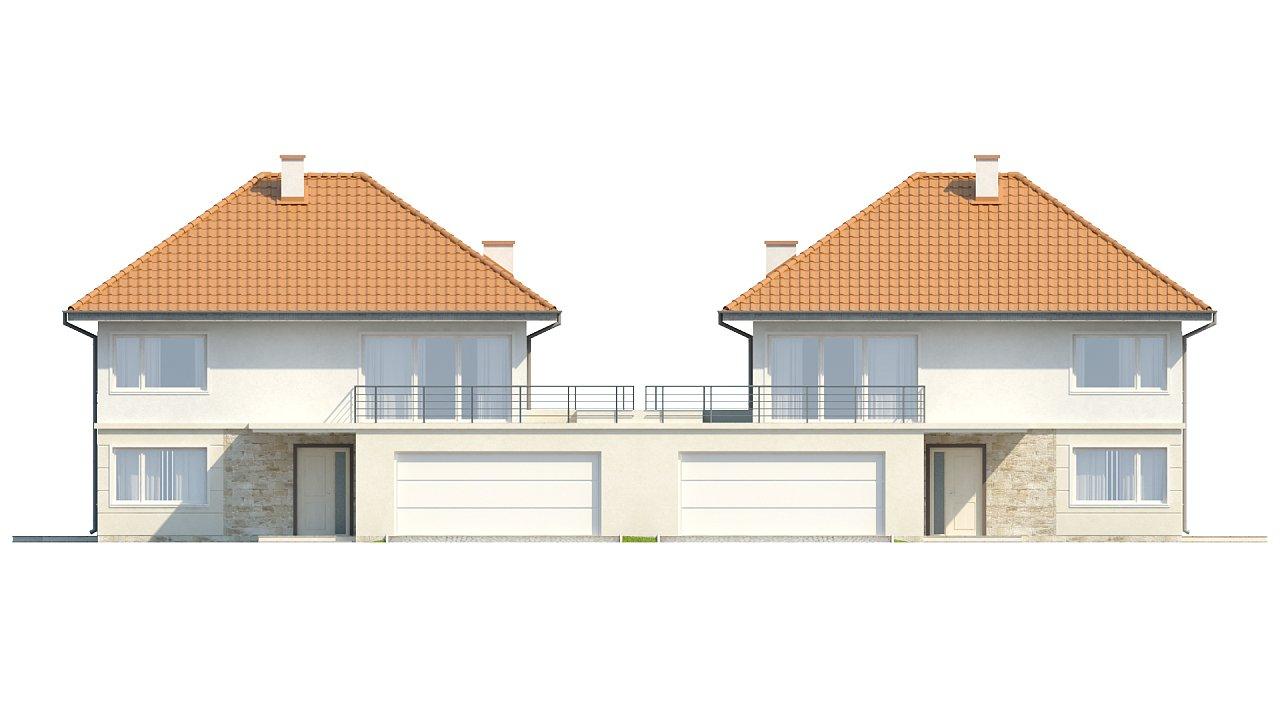 Проект просторного двухэтажного дома для симметричной застройки с террасой над гаражом. 14