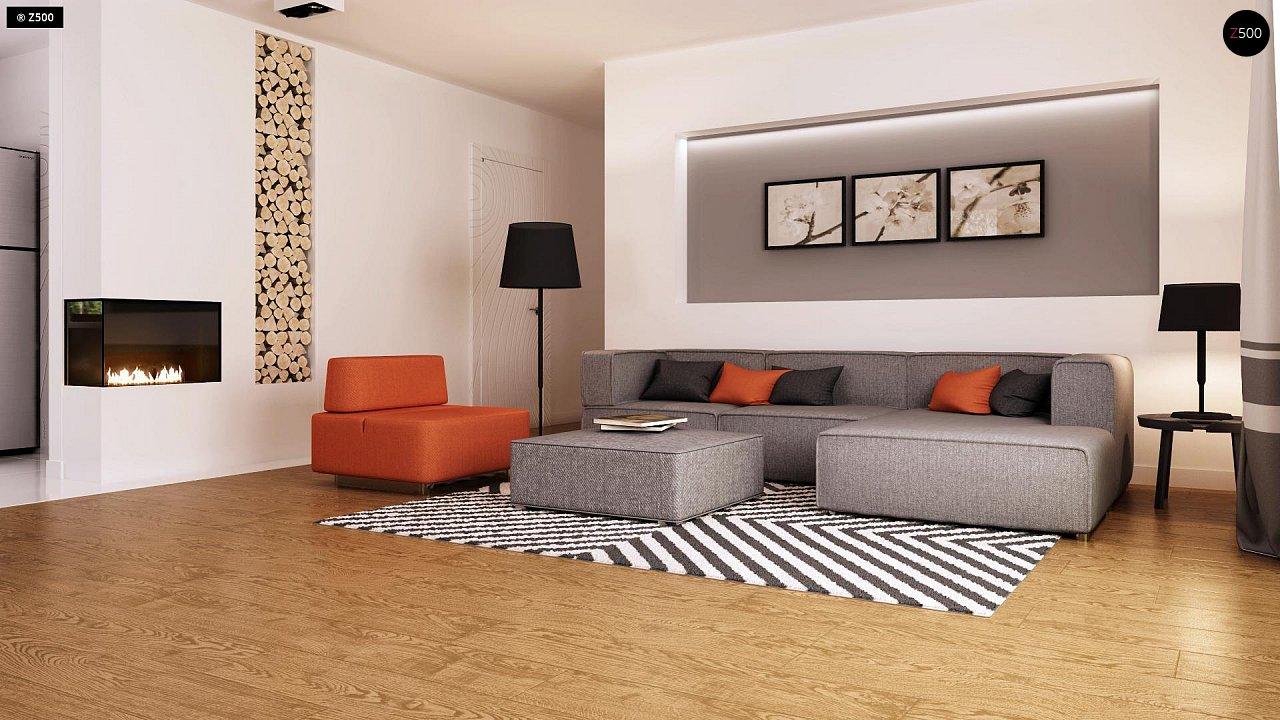 Функциональный одноэтажный дом с современными элементами отделки фасадов. - фото 4