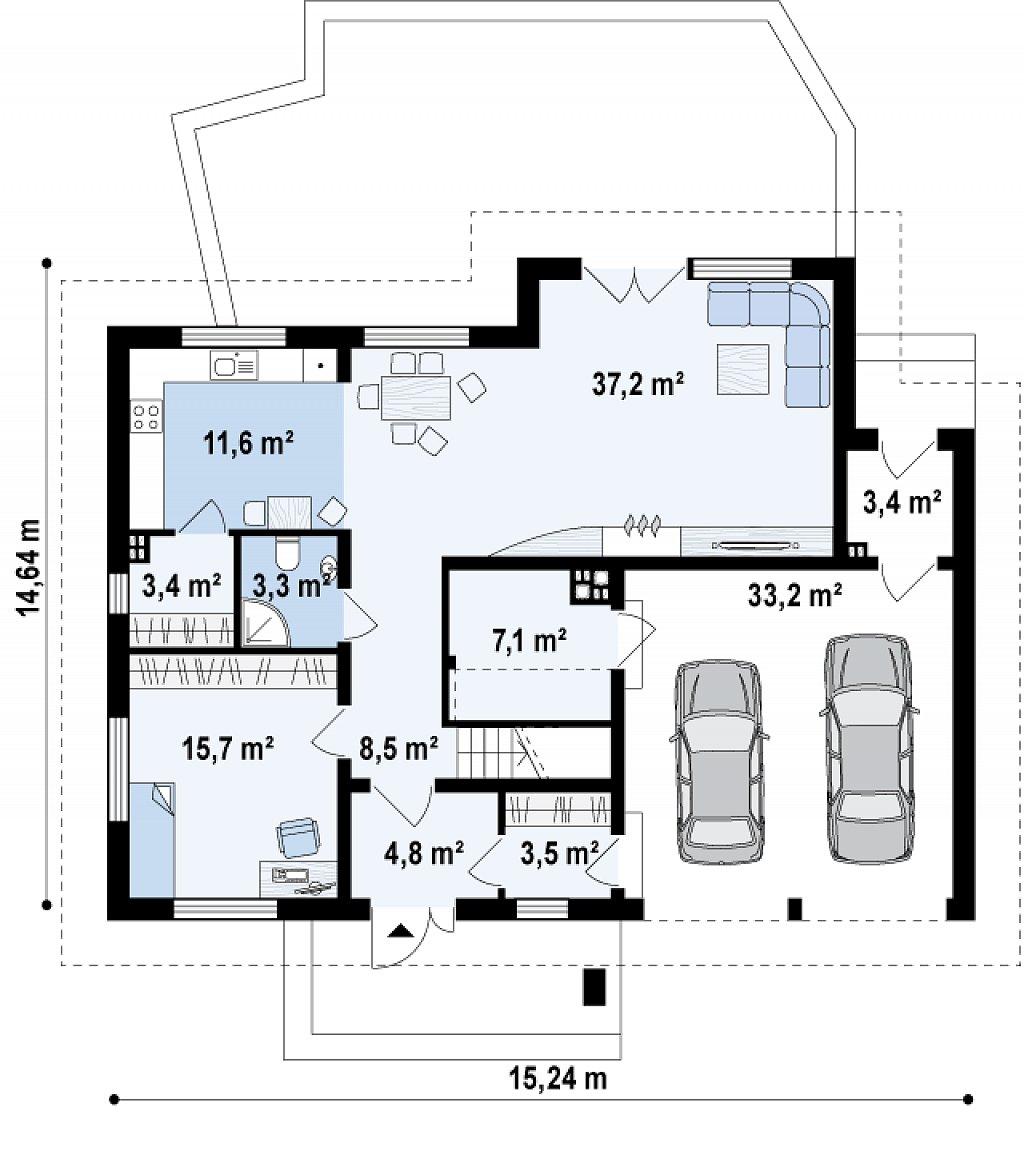 Просторный дом с большими фасадными окнами, с гаражом для двух автомобилей. план помещений 1