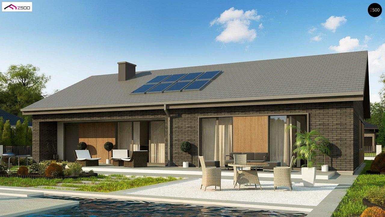 Одноэтажный дом с 4 спальнями, гаражом и 2-х скатной крышей 1