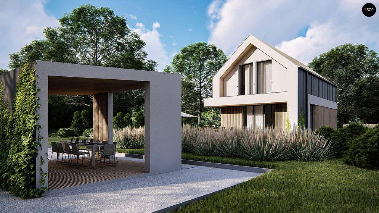 Проект одноэтажного дома с двускатной крышей для небольшого участка 6