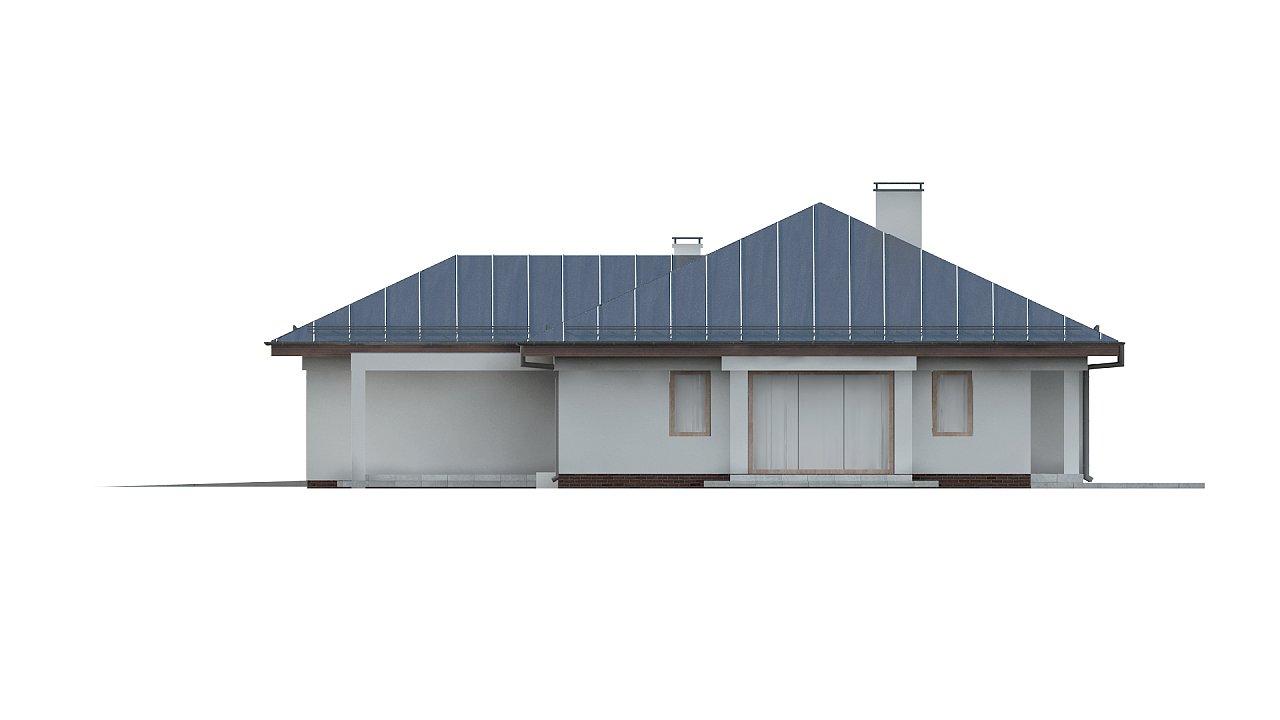 Функциональный одноэтажный дом с фронтальным гаражом для двух авто, большим хозяйственным помещением, с кухней со стороны сада. 26