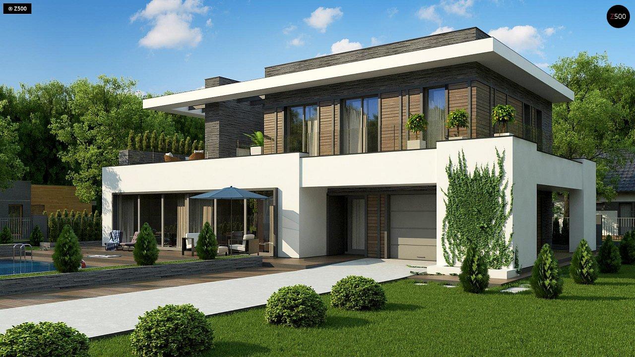 Стильный дом в современном стиле с просторной террасой на втором этаже. 3