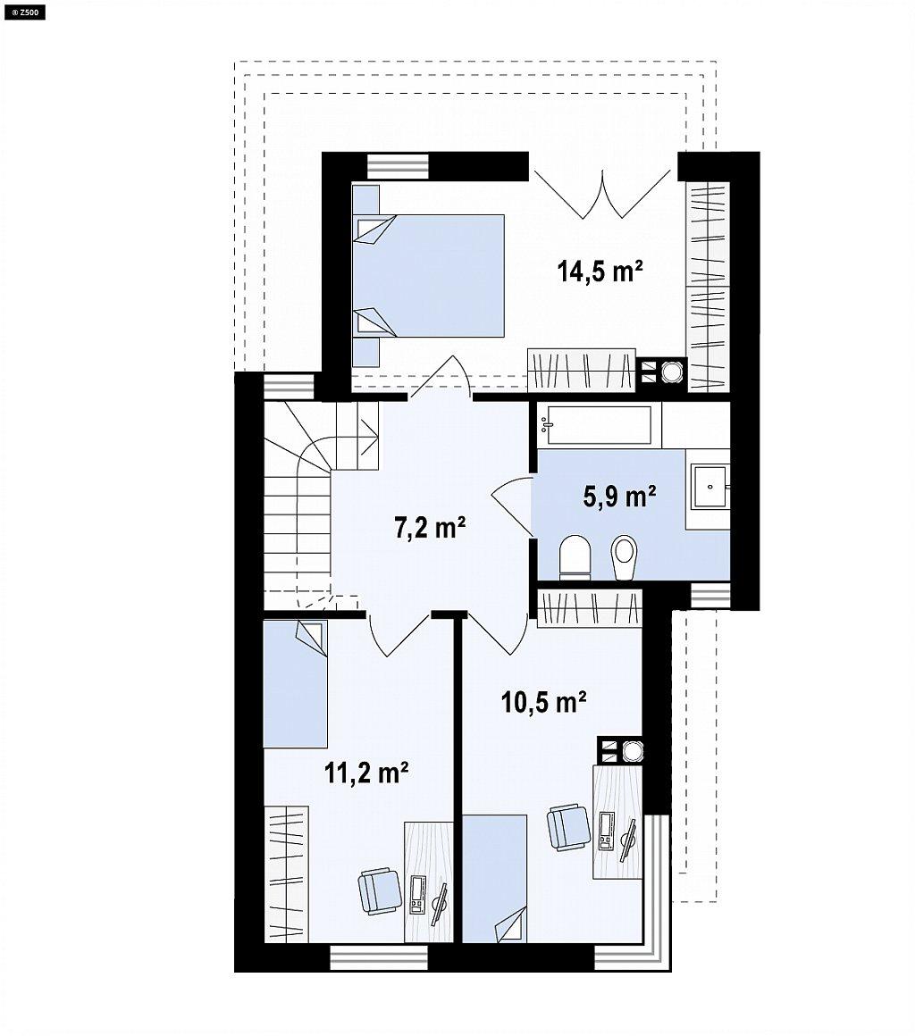 Проект двухэтажного дома в стиле кубизм, подходит для строительства на узком участке. план помещений 2