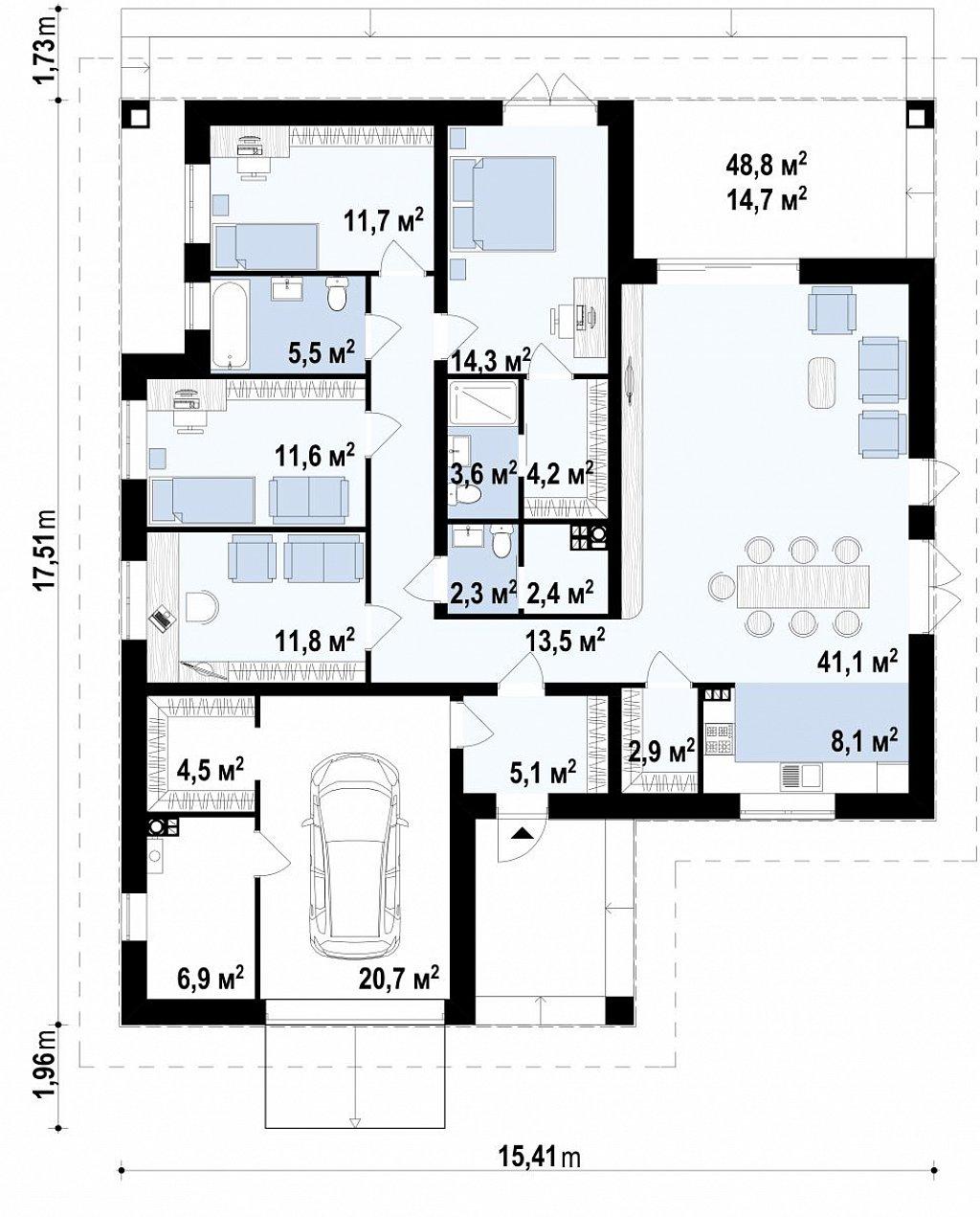 Проект стильного одноэтажного дома с функциональной планировкой план помещений 1