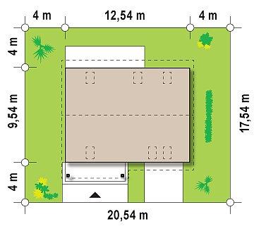 Практичный дом с мансардой, встроенным гаражом и дополнительной спальней на первом этаже. план помещений 1