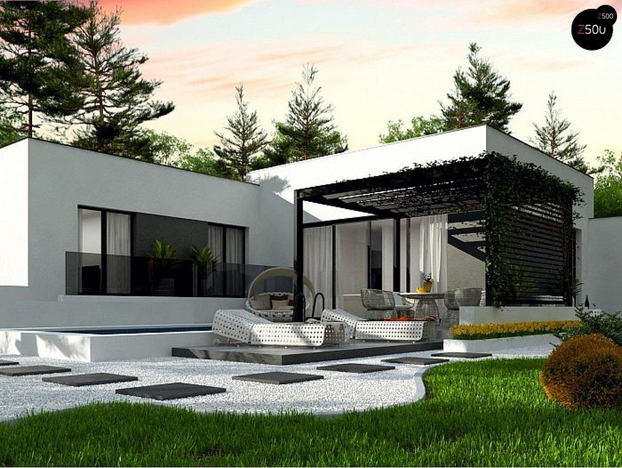 Одноэтажный дом с плоской кровлей адаптированный под строительство в сейсмических районах - фото 1