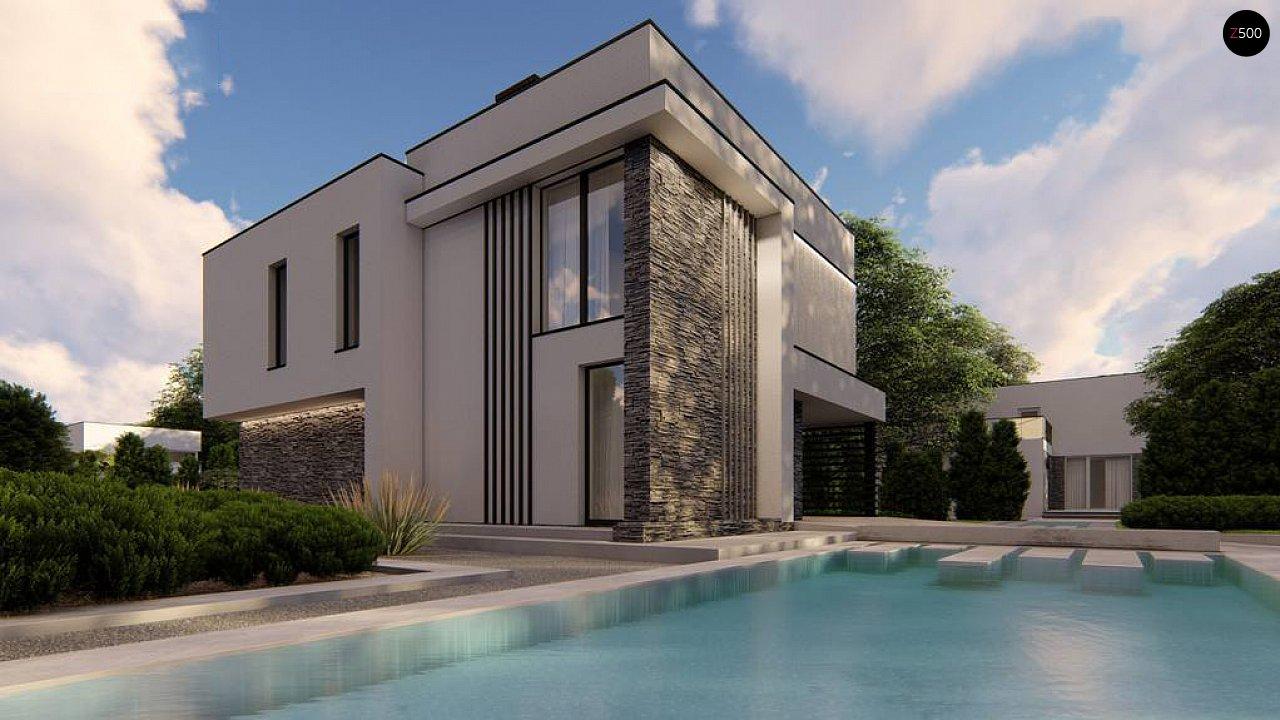 Двухэтажный проект дома для семьи из 4 человек с современным дизайном и навесом для машины 5