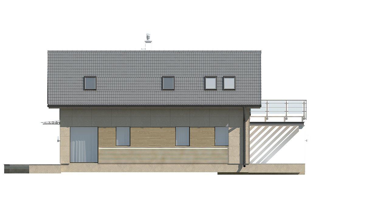 Дом простой формы с двускатной кровлей, с террасой над гаражом, также для узкого участка. - фото 4