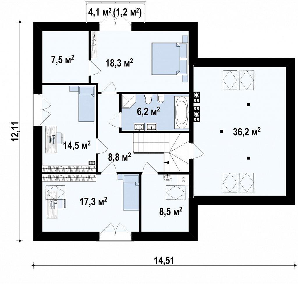 Комфортный дом привлекательного дизайна с дополнительной комнатой над гаражом. план помещений 2