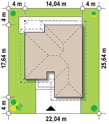 Проект одноэтажного дома с фронтальным выступающим гаражом и возможностью обустройства мансарды. план помещений 1
