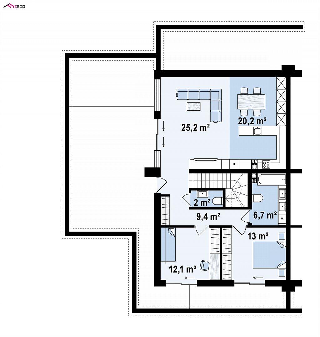 Современный большой дом с плоской крышей план помещений 2