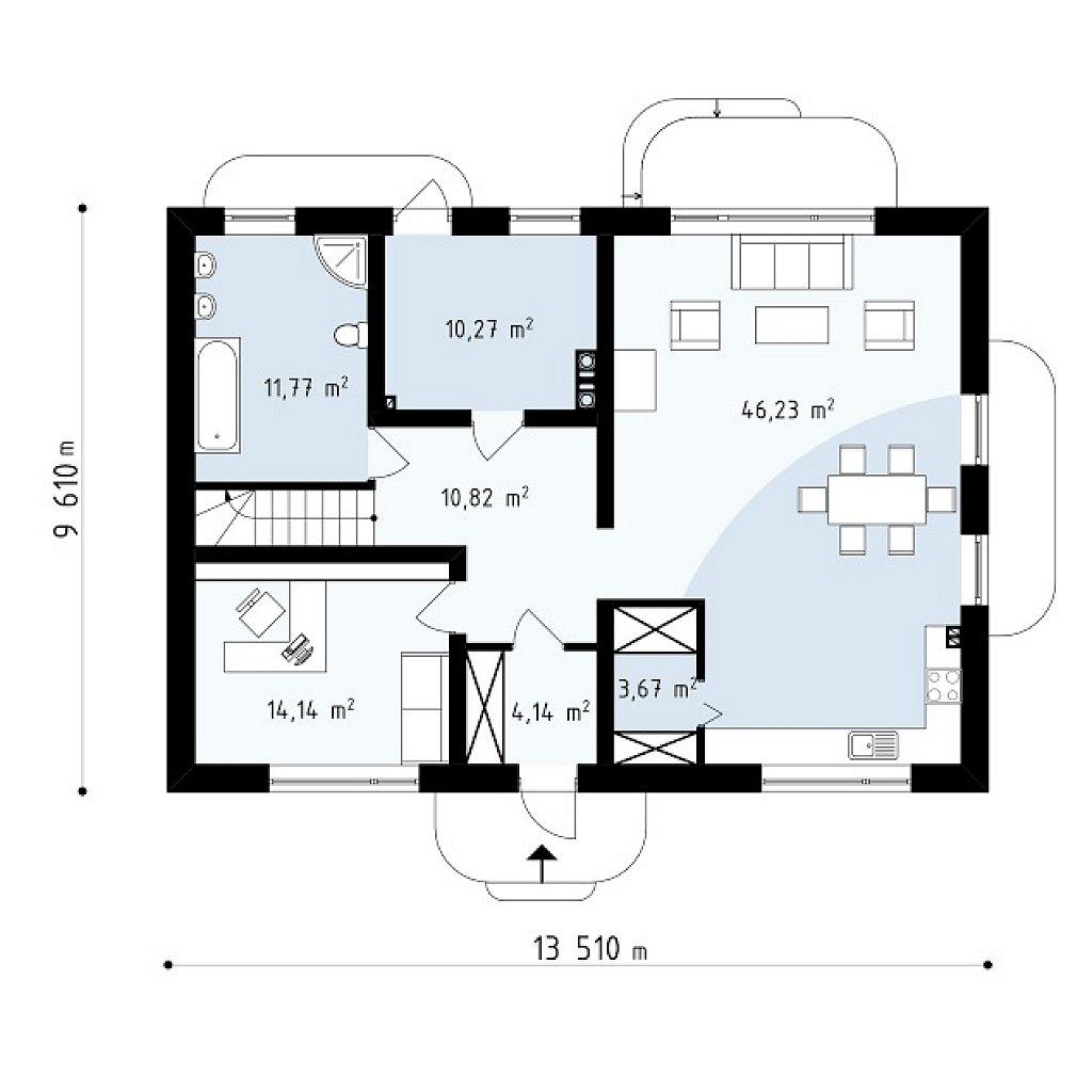 Новая версия адаптированного проекта дома zx11 план помещений 1
