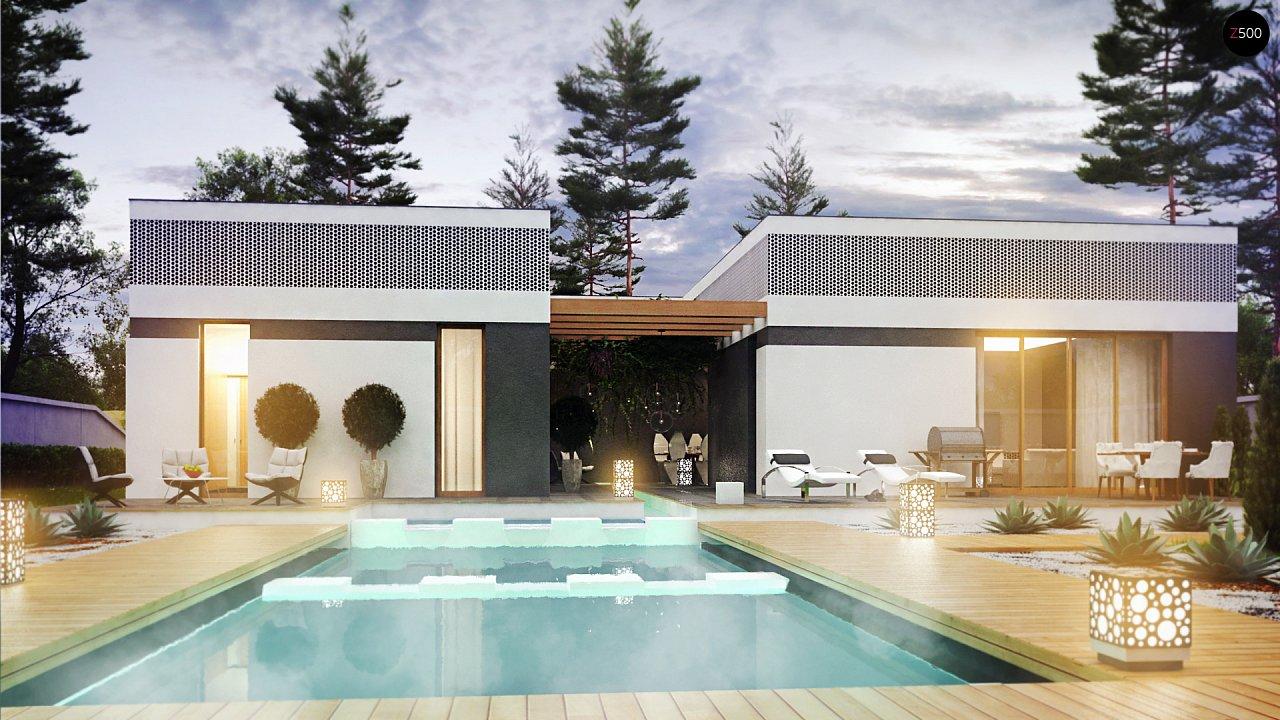 Проект дома в современном стиле с закрытой террасой - фото 8