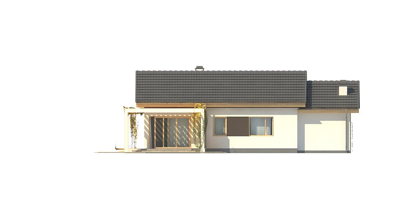 Небольшой одноэтажный дом с большой площадью остекления в гостиной. 12