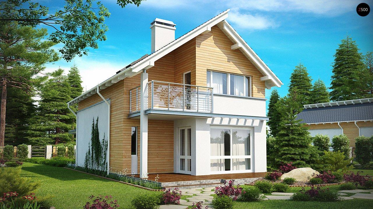 Энергоэффективный и удобный дом с современными элементами отделки фасадов. Подходит для узкого участка. - фото 1