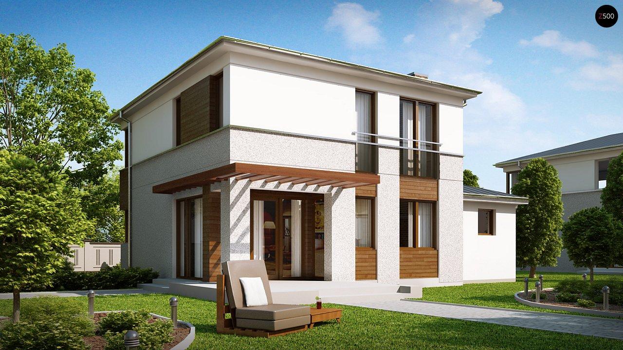 Двухэтажный дом, сочетающий традиционные формы и современный дизайн, с тремя спальнями и гаражом. 2