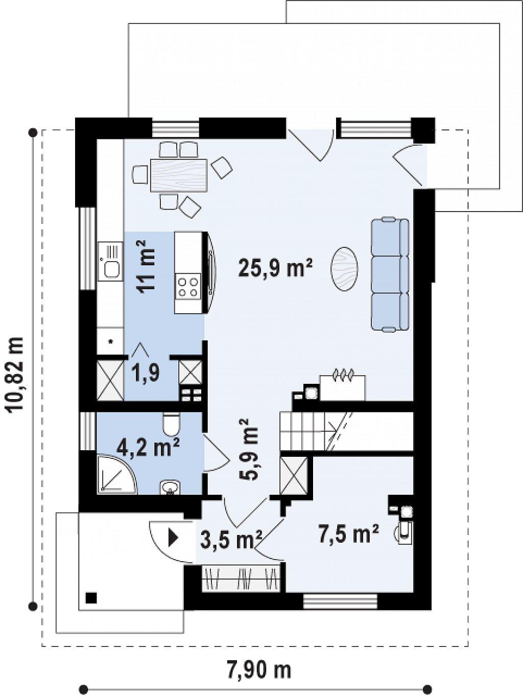 Проект компактного, функционального дома, с кирпичной облицовкой фасадов. план помещений 1