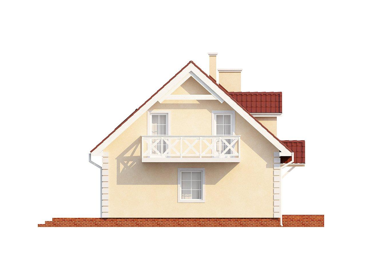 Компактный дом в традиционном стиле с двускатной крышей и красивыми мансардными окнами. - фото 7