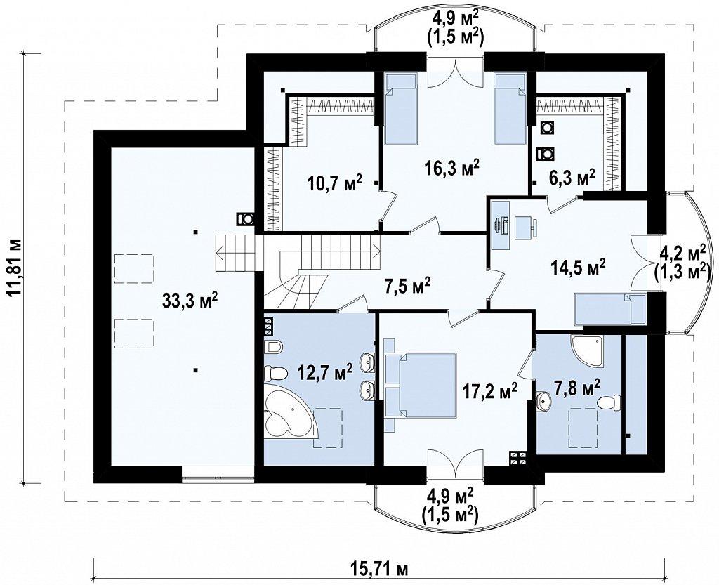 Версия проекта Z18 со встроенным гаражом с левой стороны дома план помещений 2