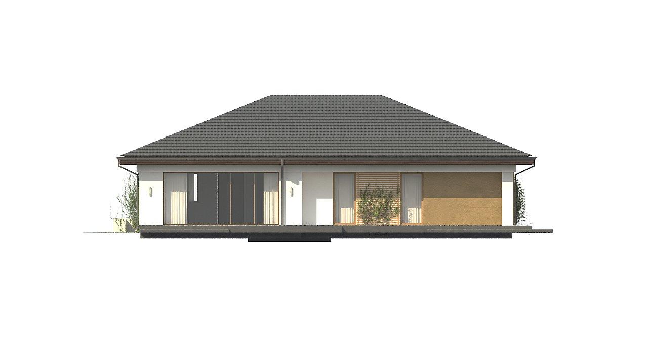 Проект одноэтажного дома с многоскатной крышей и гаражом на одну машину. - фото 7